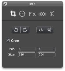 Inspector for rotatint, flippin or cropping the video