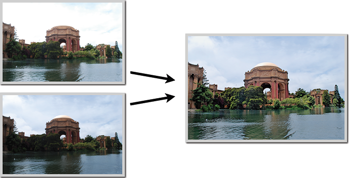 On the left, one overexposed shot and one underexposed shot of the same scene which are merged to create an HDR image (on the right)
