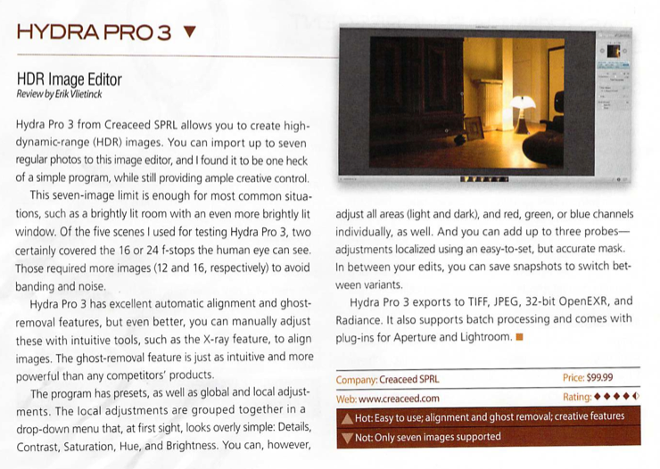 Article Photoshop User Magazine about Hydra Pro 3